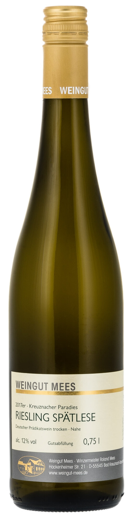 Riesling Spätlese trocken Kreuznacher Paradies Weißwein 2018 / Mees