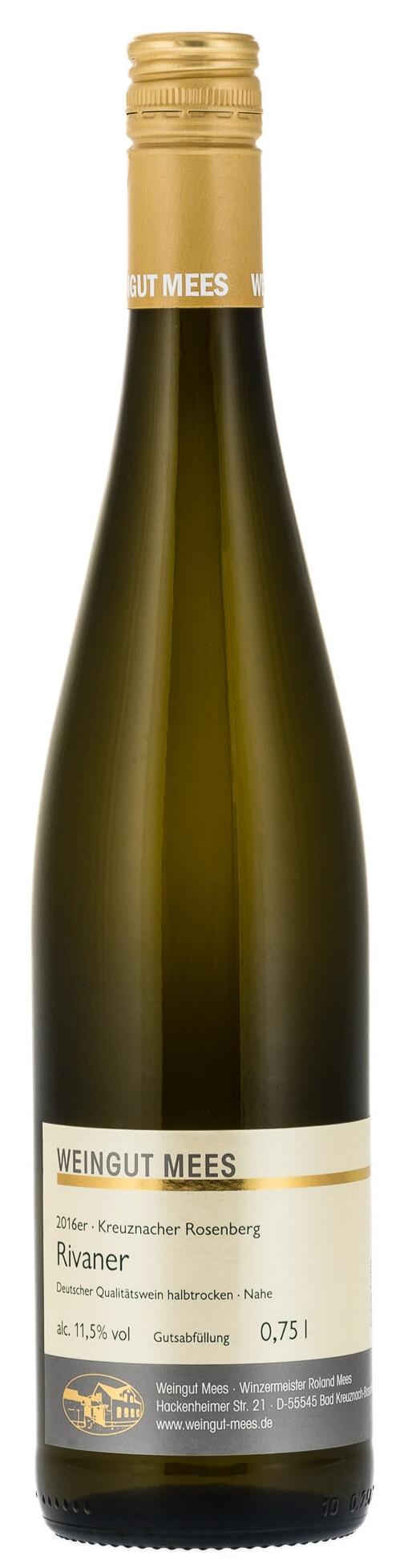Rivaner halbtrocken Qualitätswein QbA Kreuznacher Rosenberg 2017 / Mees