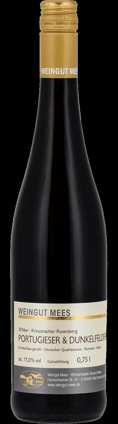 Portugieser und Dunkelfelder Rotwein Cuvee feinherb süss Qualitätswein QbA Kreuznacher Rosenberg  2016 / Mees