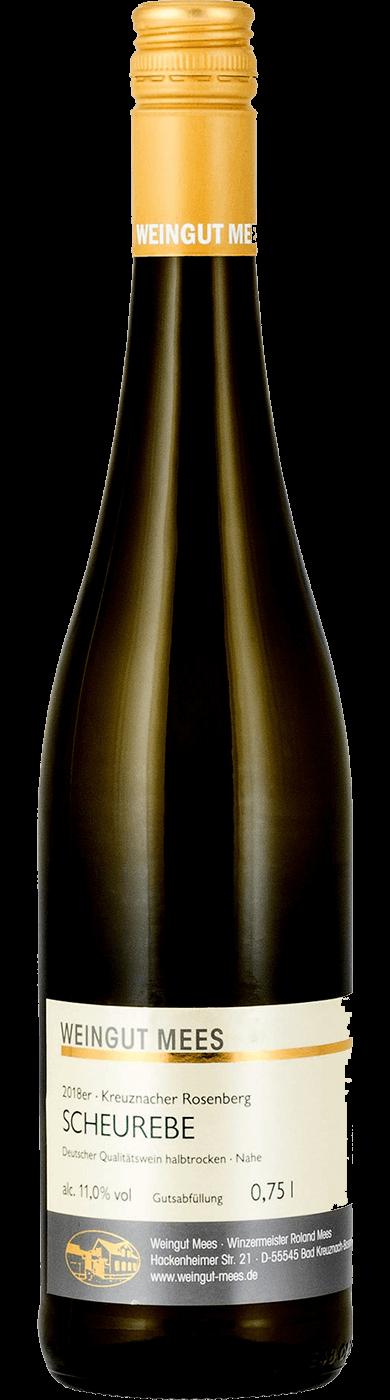 Scheurebe halbtrocken Qualitätswein QbA Kreuznacher Rosenberg Weißwein 2018 / Mees