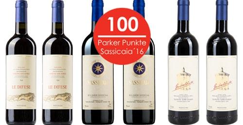 Sassicaia 2016 im Weinpaket mit Le Difese 2016 und Guidalberto 2016   / Tenuta San Guido